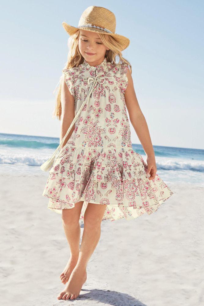 Розовое/кремовое летнее платье с принтом пейсли (3-16 лет)