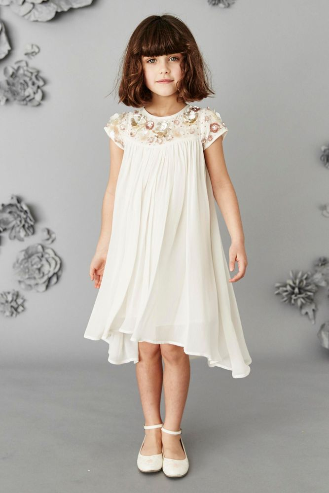 Платье для подружки невесты цвета слоновой кости с отделкой камнями (3-16 лет)
