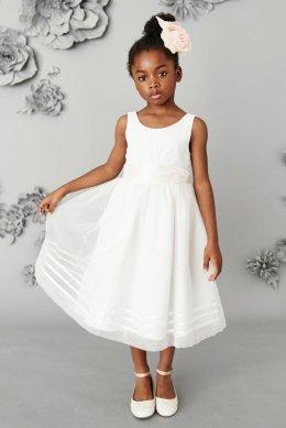 Платье цвета слоновой кости для подружки невесты с поясом (3 мес.-16 лет)